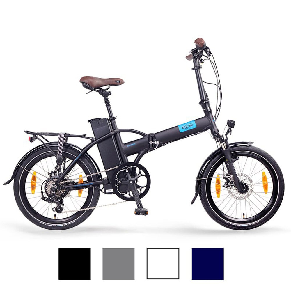 NCM London 20 E-Bike, E-Faltrad, blau, weiß, anthrazit